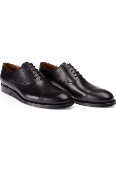 Deery Deri Özel Üretim Siyah Kösele Ayakkabı