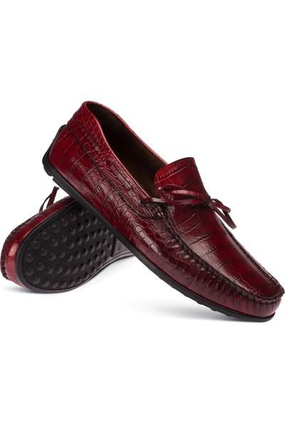 Deery Rugan Kroko Bordo Loafer Erkek Ayakkabı