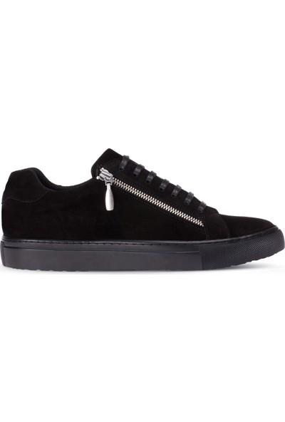 Deery Süet Siyah Fermuarlı Erkek Sneaker