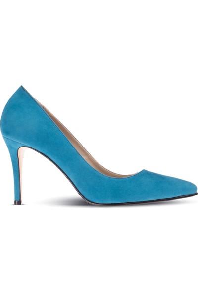 Deery Mavi Süet Kadın Stiletto