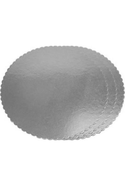 Elitparti 32 cm Gümüş Yuvarlak Karton Pasta Altlığı Kalın