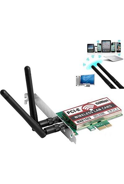 Platoon NHP-012 PCI-E 150 Mbps Çift Antenli Wifi Kablosuz Ağ Kartı WAE1502