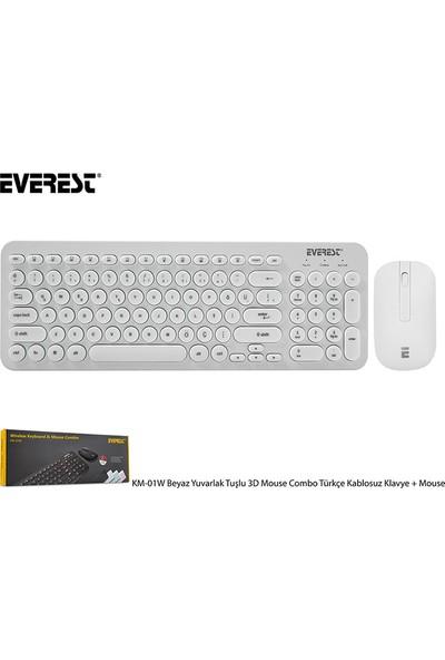 Everest KM-01W Yuvarlak Tuşlu 3D Mouse Combo Türkçe Kablosuz Klavye + Mouse