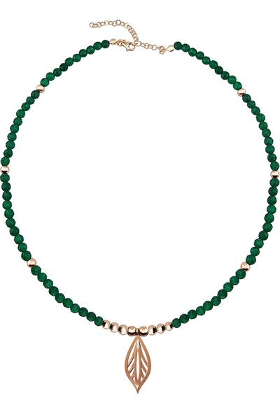 Vaoov 925 Ayar Gümüş Hematit ve Jade Taşlı Yaprak Kolye
