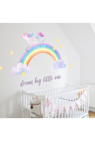 Sim Tasarım Gökkuşağı ve Unicorn Temalı Duvar Sticker Seti