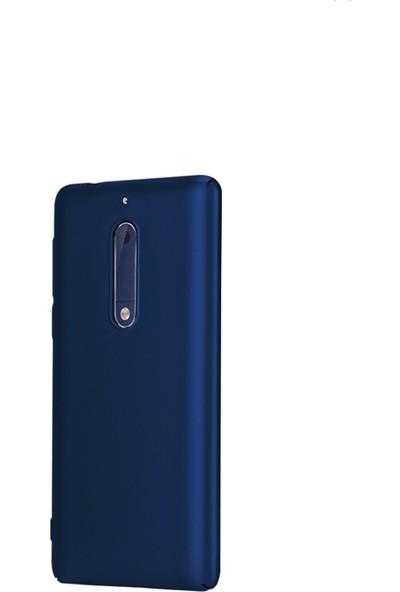 Kaltel Gsm Nokia 5 Mat Premier Silikon Kılıf + USB Kablo + Cam Ekran Koruyucu - Lacivert