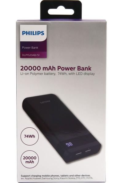 Philips DLP1520AB 20000 mAh LED Ekran Çift Çıkışlı 2A Hızlı Şarj Powerbank