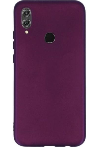 Kaltel Gsm Huawei Honor 8X Mat Premier Silikon Kılıf + USB Kablo + 5D Full Kaplayan Tam Koruma Tüm Ekran Koruyucu - Mürdüm