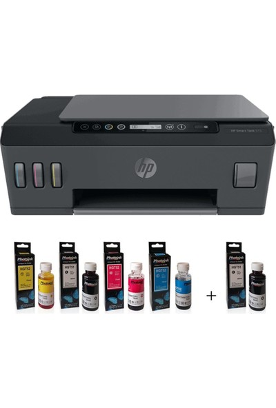 HP Smart Tank Wireless 515 Fotokopi + Tarayıcı + Wi-Fi + Airprint Renkli Tanklı Yazıcı 1TJ09A + Photoink Mürekkepli