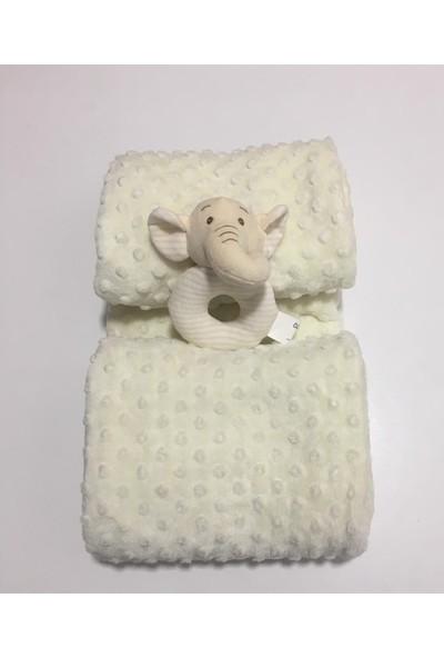 Aksu Ipeksoft Çıngıraklı Bebek Battaniyesi Bej