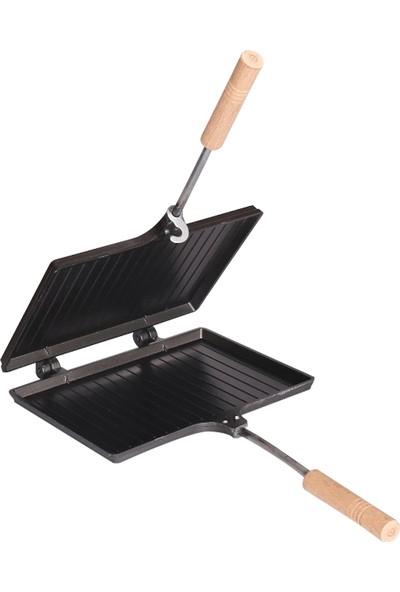 Mutfak Sepeti Ocak Üstü Içi Dışı Teflon El Tost Makinesi