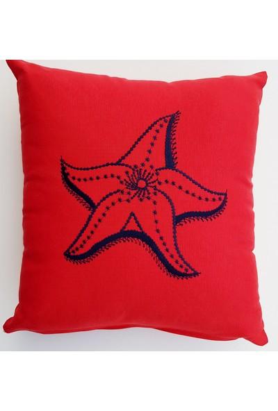 Gaintart Deniz Yıldızı Nakışlı Dekoratif Yastık Kırlent Kılıfı