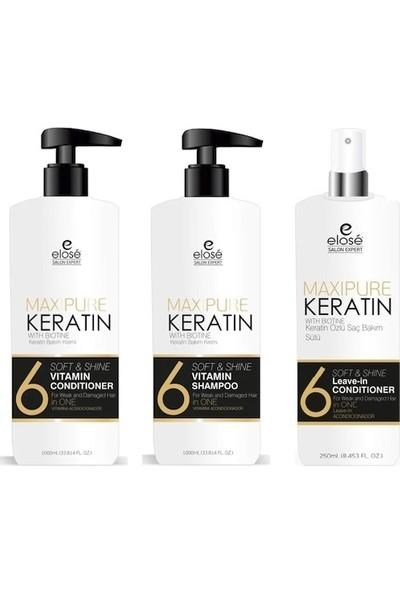 Elose Keratin Seti Şampuan 1000 ml - Krem 1000 ml - Süt 250 ml