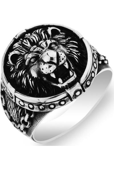 Gümüşçü Gümüş Zincir Işlemeli 3 Boyutlu Aslan Kafası Erkek Yüzük