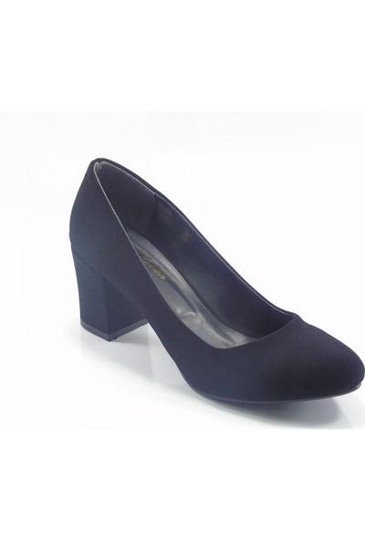 Stella Di More By Ercan Siyah Süet Büyük Numara Kadın Topuklu Ayakkabı