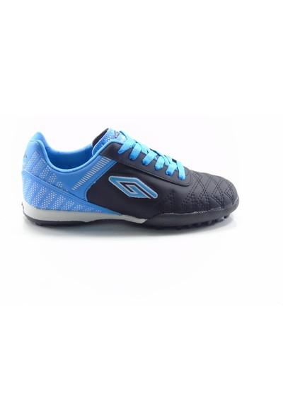 Dugana Siyah Mavi Bağcıklı Çocuk Halısaha Ayakkabısı