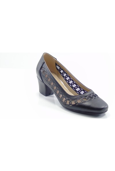 Stella Di More By Ercan 2370 Siyah Cilt Fileli Kadın Topuklu Ayakkabı