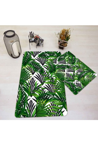 Halı Vagonu HV501BT Siyah Beyaz Zeminli Tropikal Yapraklı Banyo Paspas Takımı