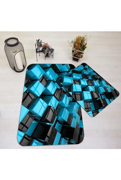 Halı Vagonu J3025B 3D Mavi Siyah Küpler Banyo Paspas Klozet Takımı
