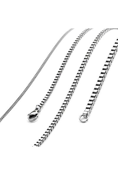 VipBT Paslanmaz Çelik Kutu Zincir Erkek Kolye 80 cm x 24 mm