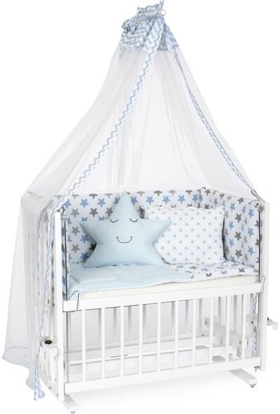 Heyner Ahşap Lake Beyaz Renk 50 x 90 cm Kademeli Anne Yanı Beşik Sallanan Ahşap Beşik - Mavi Yıldız Uyku Setli & Soft Ortopedik Yataklı