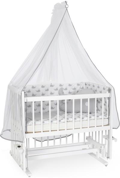 Heyner Ahşap Lake Beyaz Renk 50 x 90 cm Kademeli Anne Yanı Beşik Sallanan Ahşap Beşik - Gri Balina Uyku Setli & Soft Ortopedik Yataklı