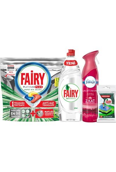 Fairy Platinum Plus 13'lü + Fairy Sıvı 650 ml + Febreze Platinum 300 ml Gizemli Tayland + Sünger