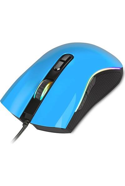 Rampage SMX-R44 Makrolu 6400DPI RGB Ledli Oyuncu Mouse - Mavi