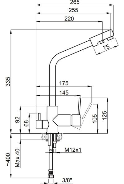 Adell Volte 3 Girişli Arıtma Çıkışlı Mutfak Bataryası