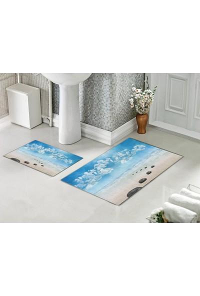 Casberghome Sıra Sıra Taşlar Desenli Banyo Paspas Seti