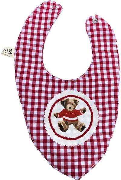 Asu Baby&Kids Vintage Ayı Kırmızı Önlük