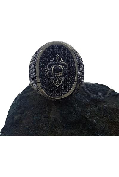 Dalman Silver Elips Taşlı Özel Koleksiyon Gümüş Erkek Yüzüğü