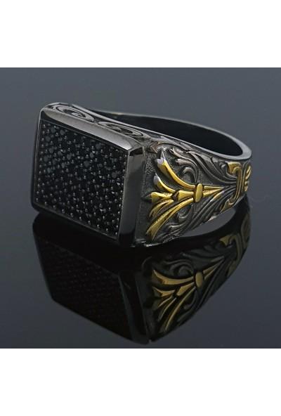Dalman Silver Dikdörtgen Özel Taşlı Oksitli Gümüş Erkek Yüzüğü