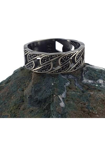 Dalman Silver Oksitli Siyah Taşlı Zincir Formlu Gümüş Erkek Yüzüğü
