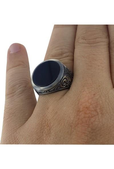Dalman Silver Yuvarlak Onix Taşlı Oksitli Gümüş Erkek Yüzüğü