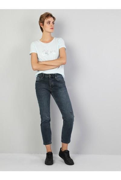 Colins 891 MAYA Orta Bel Daralan Paça Slim Fit Mavi Kadın Jean Pantolon