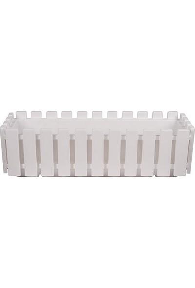 Polıwork Dikdörtgen Büyük Çit Bahçe Balkon Saksısı Beyaz 60 cm