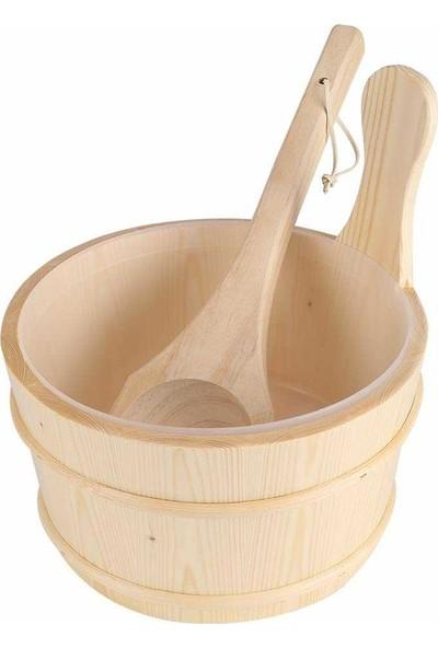 POOLLINE Sauna Kova Kepçe Takımı Beyaz Çam 4 lt