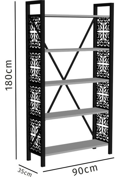 Wood'n Love Rea Desen 2 5 Raflı Geniş Metal Kitaplık - Siyah / Ceviz