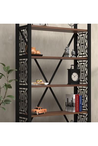 Wood'n Love Rea Desen 3 5 Raflı Geniş Metal Kitaplık - Siyah / Ceviz