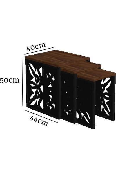 Wood'n Love Atlas Desen 2 Metal Zigon Sehpa - Siyah - Beyaz