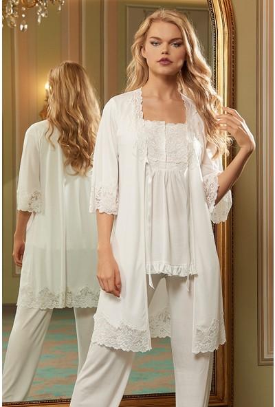 Barina 771 Kadın Cotton Hamile / Lohusa Üçlü Pijama Seti
