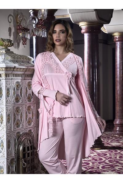 Barina 923 Kadın Cotton Hamile / Lohusa Üçlü Pijama Seti