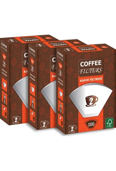 Coffee Filters Filtre Kahve Kağıdı No:2 100'lü @ 3 Paket