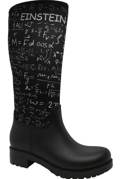 Pabucchi Einstein Kadın Uzun Siyah Yağmur Çizmesi