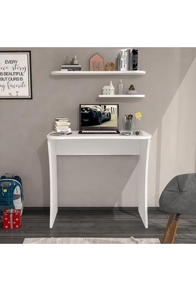 Wood'n Love Cosmo 2 Raflı Çalışma Masası - Beyaz