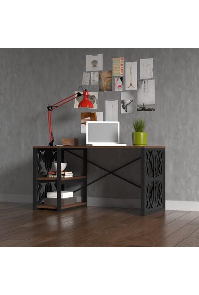 Wood'n Love Rea Desen 4 Metal Çalışma Masası - Siyah / Ceviz