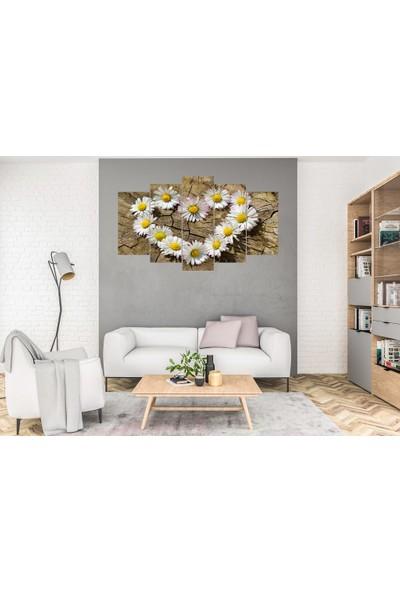 Hediye Kapında 5 Parçalı Dekoratif Tablo Papatya Kalp