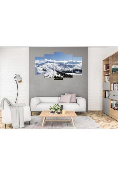 Hediye Kapında 5 Parçalı Dekoratif Tablo Karlı Dağ