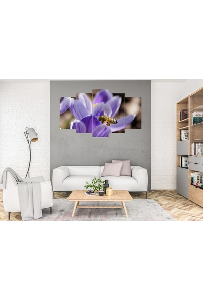 Hediye Kapında 5 Parçalı Dekoratif Tablo Arı ve Çiçek